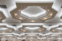 Ceiling. A beautiful pattern of light pooling on the ceiling Stock Photography