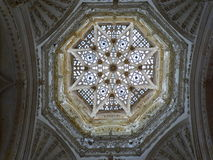 Ceiling. Beautiful gothic ceiling. Interior of cathedral in Burgos, Spain. Old Catholic landmark listed on UNESCO World Heritage List Stock Image