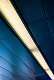 Ceiling. Metal Blueish Ceiling With Incandescent lights royalty free stock images