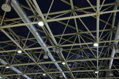 Ceiling. In a warehouse, ventilation and illumination Royalty Free Stock Image