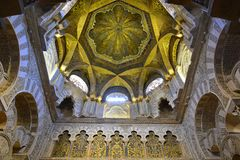 Ceiling above the mihrab in Mezquita of Cordoba. stock photos