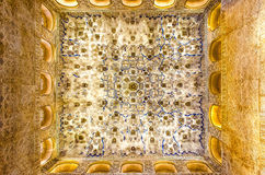 Ceiling in the Alhambra. Highly detailed, sharp image of a ceiling in the ornate Moorish style Alhambra palace in Granada, Andalucia, Spain stock photography
