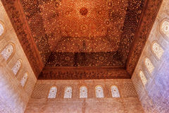 Ceiling Alhambra Moorish Wall Designs Granada Andalusia Spain. Square Shaped Domed Ceiling Arch Alhambra Moorish Wall Windows Patterns Designs Granada Andalusia Stock Photography
