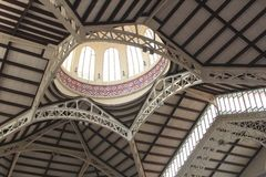 Ceiling of the Central Market  in Art Nouveau style, Valencia, Spain Royalty Free Stock Image