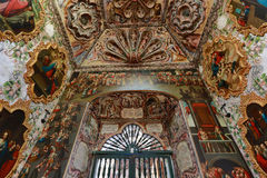 The ceiling of the Atotonilco chapel. Painted walls and ceiling of a colonial church royalty free stock images