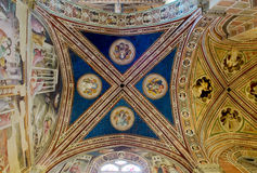 Ceiling of Baroncelli Chapel in Basilica di Santa Croce. Florence, Italy. Ceiling of Baroncelli Chapel in right transept of Basilica di Santa Croce. Florence Royalty Free Stock Photos
