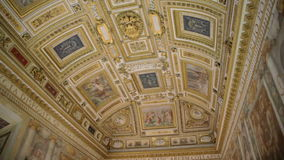 Ceiling in Castel Sant'Angelo in Rome, Italy. Shot of beautiful and unique ceiling fresco in Castel Sant'Angelo in Rome, Italy admired by many tourists from all stock video footage
