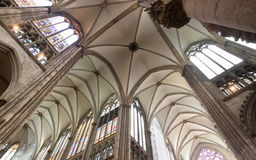 Ceiling of Cathedral in Cologne, Germany Stock Photo