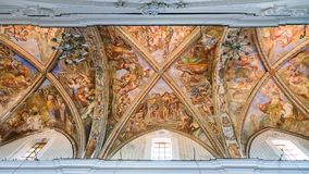 Ceiling of the cathedral of San Bartolomeo in Lipari. Lipari, Aeolian Islands, Italy - August 22, 2017: Frescoes with biblical scenes on the vault of the St Royalty Free Stock Image