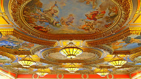 Ceiling chandeliers and paintings of venetian hotel, macau. Beautiful chandeliers and colorful paintings on the ceiling of the venetian hotel, macau stock images