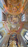 Ceiling of chapel in Saint Anton palace with the frescoes by Anton Schmidt from years 1750 - 1752. Stock Image