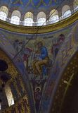 The ceiling of the church with the church painting The Naval cathedral of Saint Nicholas in Kronstadt. Is a Russian Orthodox cathedral in St. Petersburg, Russia royalty free stock photo