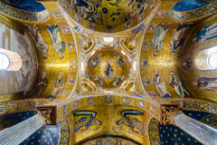 Ceiling in the church Martorana. Golden mosaics. Palermo, Sicily, Italy. Royalty Free Stock Images