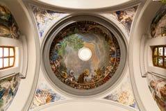 The ceiling of the church. Palma de Mallorca, Spain, the ceiling of the church with the drawings of the saints. The ceiling of the church Stock Photos