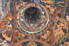 Ceiling of the church. Saint Anna-Rohia monastery, situated in a natural and isolated place, in Maramures, Transylvania Stock Photography