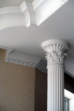Ceiling and column architecture. As part of the room stock photography