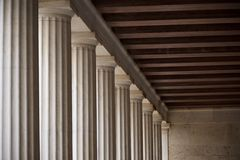 Ceiling corner in Stoa of Atallos colonnade Royalty Free Stock Photos