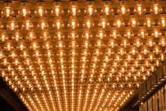 Ceiling covered in filament light bulbs Stock Photos