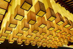 Ceiling with cubic lights design Stock Images