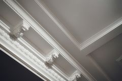 ceiling decor architecture white color luxury light textured fretwork molding Stock Image