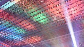 Ceiling decorated with colored lights stock footage