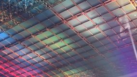Ceiling decorated with colored lights stock video footage