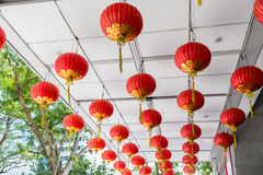 Ceiling decorated with hanging chinese lanterns Royalty Free Stock Photography