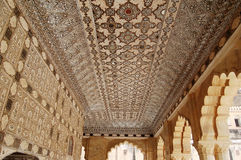 Ceiling decorated with inlaid stone and mirrors Stock Photo