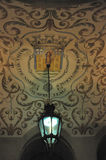 Ceiling decoration. Arms of the city Stock Photo