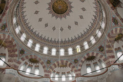 Ceiling decoration. Decorated ceiling in the ottoman nişancı mehmet mosque in istanbul, turkey stock photography