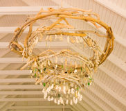 A ceiling decoration made with flotsom. Artwork made from beach treasures as seen hanging at a restaurant in the grenadines stock photography