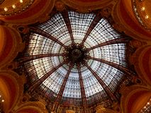 Ceiling. Decorative ceiling in Lafayette in Paris, France Royalty Free Stock Images