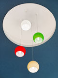 Ceiling design. Ceiling lights in deferent colors in shopping mall Stock Images