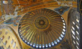 Ceiling of the dome of Hagia Sophia mosque in Istanbul, Turkey. royalty free stock photo