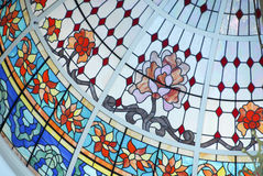 Ceiling Dome in Stained Glass. Ceiling Dome decorated with Stained Glass stock images