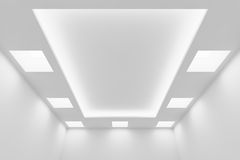 Ceiling of empty white room with square lights. Abstract architecture white room interior - ceiling of empty white room with white wall, white ceiling with Stock Images