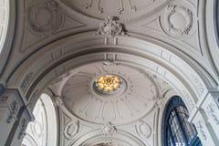 Ceiling in Estacion Mapocho, former train station, refitted as a cultural centre. Santiago de Chil. E stock photos