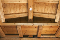 Ceiling with exposed beams Stock Image
