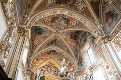 Padula ceiling. The ceiling of the famous carthusian of padula in italy stock photo