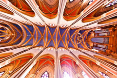 Ceiling of the famous gothic Marktkirche in Wiesbaden Stock Photography