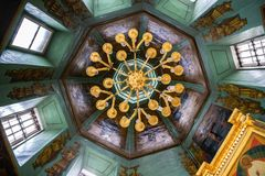 Ceiling in Famous Holy Trinity-St. Sergius Lavra, SERGIEV POSAD, RUSSIA. SERGIEV POSAD, RUSSIA - June 21, 2018: Ceiling in Famous Holy Trinity-St. Sergius Lavra royalty free stock photos