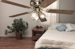 Ceiling fan. In home bedroom setting stock images