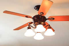 Ceiling Fan. Wooden Ceiling Fan with white bulbs Royalty Free Stock Images