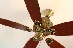 Ceiling fan. Ornamental celing fan on white background stock images