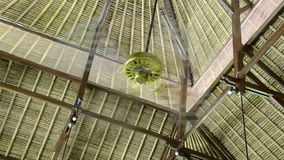 Ceiling fan in asian bamboo house stock footage