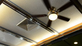 Ceiling fan in diner restaurant stock video