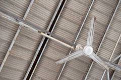 Ceiling Fan ,Fluorescent Lamp and roof Tiles Royalty Free Stock Photography