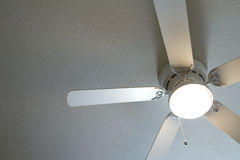 Ceiling fan light is on stock image