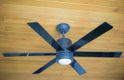 Ceiling fans. Ceiling fan on a wooden ceiling royalty free stock photo
