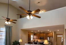 Ceiling Fans in New House. Over Living Room Stock Photography